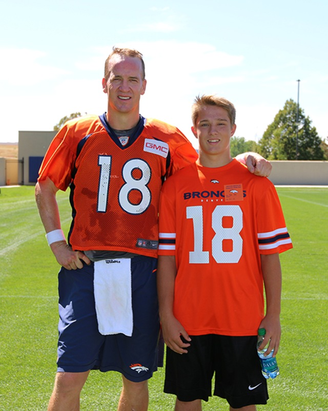 Peyton Manning and Nick Sept 1, 2015 at the Broncos practice